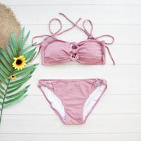 即納 Shoulder ribboned bandeau bikini Nude pink
