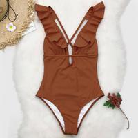 【5日間だけの限定販売】V-line frill one piece bikini Brown
