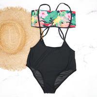 即納 Separate desing bandeau bikini Black tropical