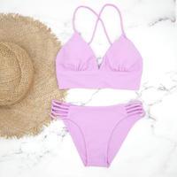 即納 A-string long under solid bikini Purple pink