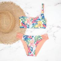 即納  One shoulder reversible tie up bikini  Tropical