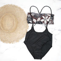即納 Separate desing bandeau bikini Brown nature