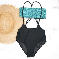 即納 Separate desing bandeau bikini Green damask