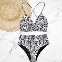 即納 A-string high waist long under bikini Black python