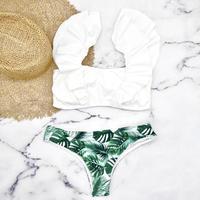 即納 V-line shoulder frill desing bikini White leaf
