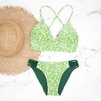即納 A-string reversible long under bikini Green floral