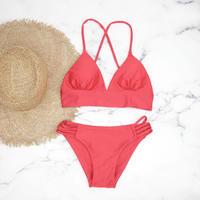 即納 A-string solid long under bikini Platinum red