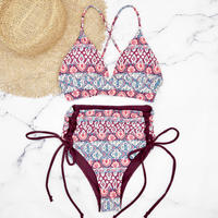 即納 A-string reversible high waist bikini Red ethnic