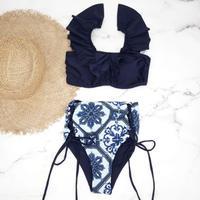 即納 V-line frill high waist reversible bikini Moroccan blue