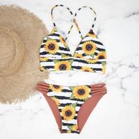 即納 A-string reversible long under bikini Border sunflower