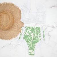 即納 V-line frill high waist reversible bikini  Native leaf