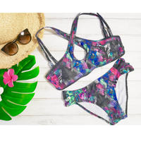 即納 Twist fix desing bikini Black leaf