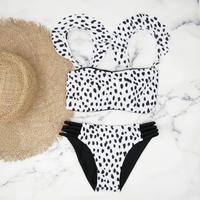 即納 Jointed frill reversible bandeau bikini Dalmatian