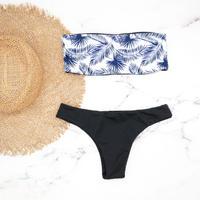 即納 Tube top reversible bandeau bikini Navy leaf
