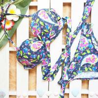 即納【Sun'sLife Original】Front cross bikini Botanical