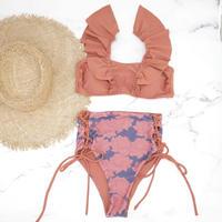 即納 V-line frill high waist reversible bikini Brown lotus