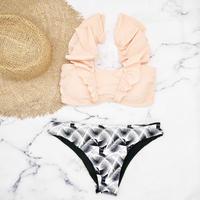即納 V-line shoulder frill desing bikini Pastel black