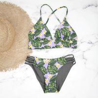 即納 A-string reversible long under bikini Purple leaf