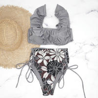 V-line frill high waist reversible bikini Platinum glay
