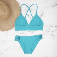 即納 A-string long under solid bikini Pure blue