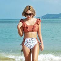 即納 V-line frill high waist reversible  bikini Rainbow