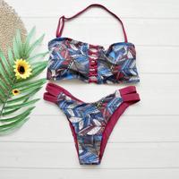 即納 Tie up reversible bandeau bikini Wine red