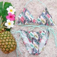 即納 Triangle bikini Pastel paisley