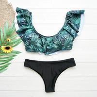 即納 3way frill desing bikini Gleen leaf