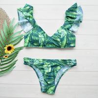 即納 Shoulder frill desing bikini Leaf