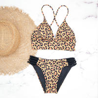 即納 A-string reversible long under bikini Animal Black