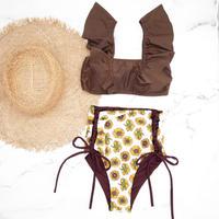 即納 V-line frill high waist reversible bikini  Sun flower