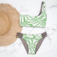 即納  One shoulder reversible tie up bikini Native leaf