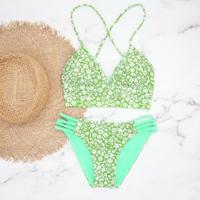 即納 A-string reversible long under bikini Mint neon
