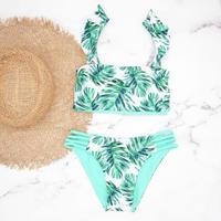 即納 Jointed frill reversible bandeau bikini Turquoise leaf