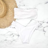 即納 Long strap solid bandeau bikini White