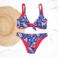 即納 Front ribboned reversible triangle bikini Red back