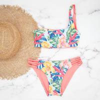 即納  One shoulder reversible tie up bikini Bright tropical