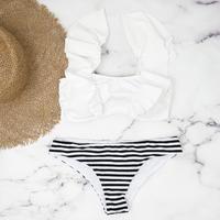 即納 V-line shoulder frill desing bikini White border