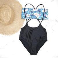 即納 Separate desing bandeau bikini Hibiscus Blue