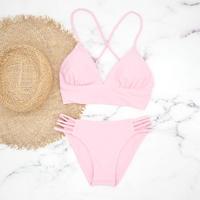 即納 A-string long under solid bikini Cherry pink