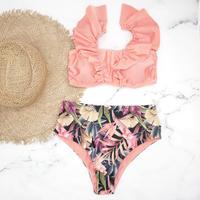 即納 V-line frill high cut desing bikini Bright leaf