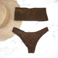 Tube top bandeau brazilian bikini Lame Brown
