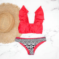 即納 V-line frill shoulder desing bikini Native red