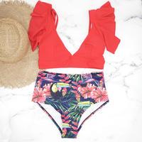 即納 High waist frill desing bikini Red tropical