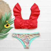 即納 V-line shoulder frill desing bikini Red ethnic