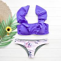 即納 V-line shoulder frill desing bikini Purple pink
