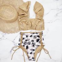 即納 V-line frill high waist reversible bikini Brown leaf