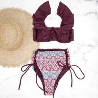 即納 V-line frill high waist reversible bikini Ethnic