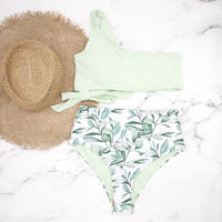 即納 One shoulder high waist bikini Mint Leaf