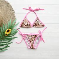 即納 Baby size simply triangle bikini Pink leopard